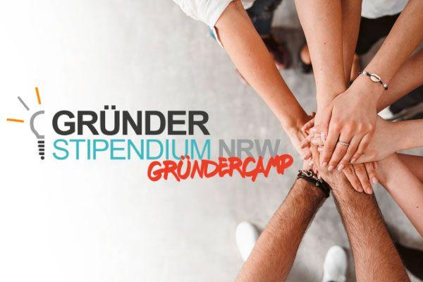 Logo des Gründerstipendiums NRW mit Gründercamp-Ergänzung
