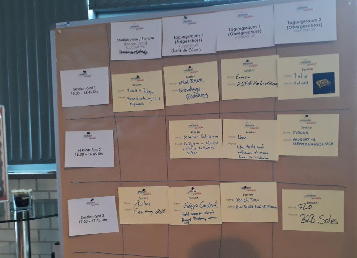 Ausschnitt aus dem Sessionplan des GründercampNRW 2019